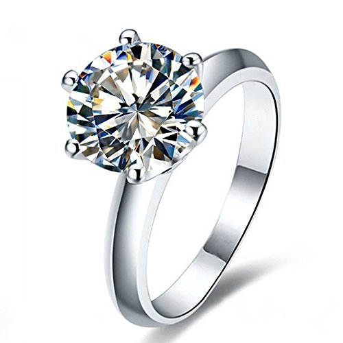 Erllo 2 Ct CZ Solitaire Engagement Ring Sterling Silver Cubic Zirconia White Gold Plated Size 4-10 Anniversary Rings (4) ()
