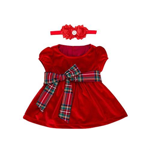 Baby Girl Velvet Bow Dress (Jojobaby Baby & Toddler Girl Velvet Dress-Satin Bow Dress (12-24 Months))