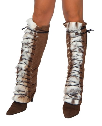 Roma Costume Faux Fur Suede Lace Up Leg Warmer, Brown/Faux Fur, One Size
