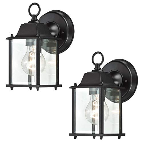 LIT-PaTH Small Outdoor Wall Lantern, Wall Sconce as Porch Lighting Fixture, E26 Base 100W Max, Aluminum Housing Plus Glass, Water-Proof and Outdoor Rated, ETL Qualified, 2-Pack (Outdoor Fixtures Lighting Path)