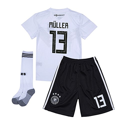 31262a0d6b3 whhyll World Cup 2018 Germany National Team Home  13 Muller Youth Kids Soccer  Jersey