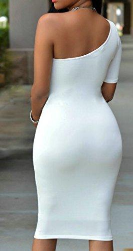 Cromoncent Femmes Sexy Une Épaule Solide Moulante Robe Partie Midi Club Blanc