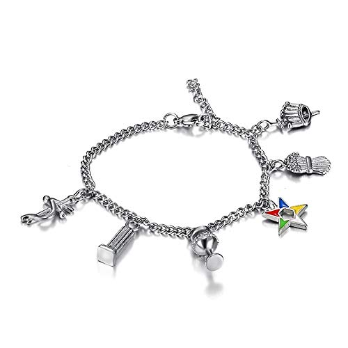 Dungkey 316l Stainless Steel Silver Color OES Chain Bracelets Order of The Eastern Star Charms Beads Bracelets Ladies