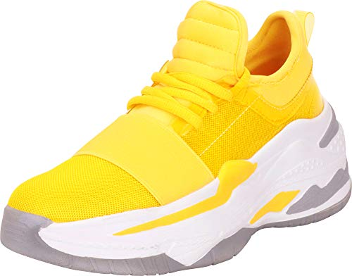 Cambridge Select Women's Retro 90s Ugly Dad Basketball Chunky Platform Fashion Sneaker,6 B(M) US,Yellow (Platform Shoes Yellow)