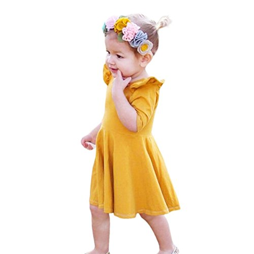 Goodlock Toddler Infant Kids Fashion Dress Baby Girls Dress Solid Ruffle Sun Dresses Clothes Outfits (Size:4T) -