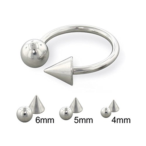 Ring Cone Horseshoe - MsPiercing Steel Ball And Cone Horseshoe Ring, 14 Ga, Ball Size:1/4
