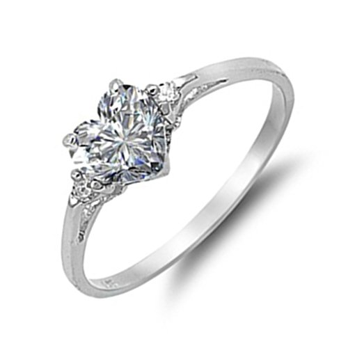 Sterling Silver Promise Ring Dainty Heart Cute Clear Cubic Zirconia Engagement Gift for Her Size 4