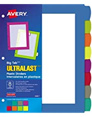 Avery Big Tab UltraLast Plastic Dividers for 3 Ring Binders, 8 tabs, Multi-Colour, 1 Set (24901)