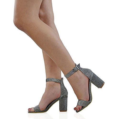 Sandalo Da Donna Essex Glam Cinturino Alla Caviglia Con Tacco Glitter Sandali Glitterati Argento