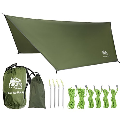 - CAMPING HAMMOCK RAIN FLY TENT TARP LIGHTWEIGHT WATERPROOF RIPSTOP NYLON 12'X10' PORTABLE OUTDOOR HEX SHELTER Backpacking Hiking Travel Bushcraft Survival Gear Includes Stuff Sack Stakes Ropes