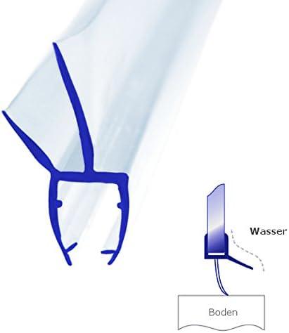 100 cm Bagnoxx 1x Joint de douche a double l/èvre /épaisseur en verre de 8 mm Long de 100cm Profil de douche L/èvre de douche PVC transparent