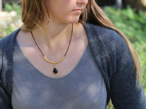 Onyx Necklace for Women, Teardrop Black Stone and Tube Pendant on Leather Cord, Gold Plated Unique Handmade Designer Jewelry