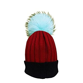 ca439f4e1b2 Customizable Faux Fur PomPom Two Tone Knitted Cashmere Winter Bobble Beanie  Hat  Amazon.co.uk  Clothing