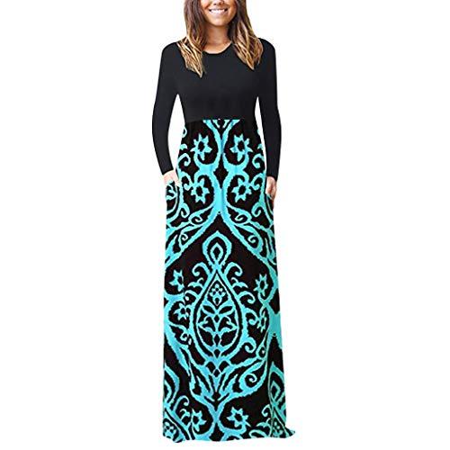 OTTATAT Dresses for Women,2020 Summer Trendy Popular Ladies Casual Sleeve O-Neck Print Maxi Tank Long Casual Loose Pocket Long Dress Short Sleeve Split Maxi Dresses Blue