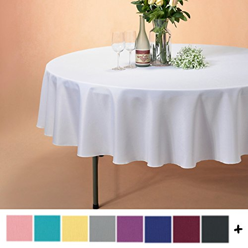 Remedios 90-inch Round Polyester Tablecloth Table Cover - Wedding Restaurant Party Banquet Decoration, White (Cloth White Table Red Wedding And)