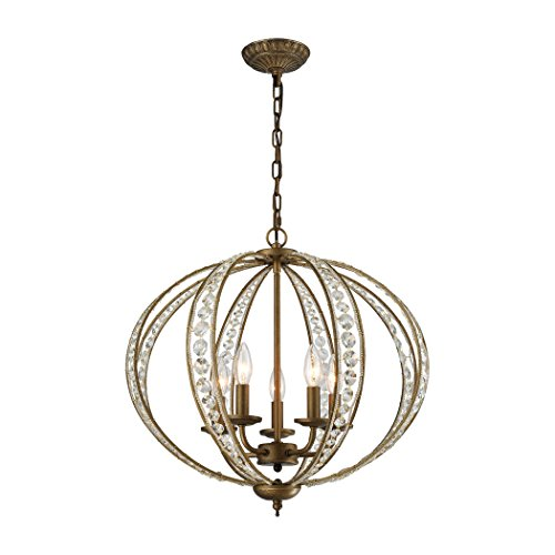 Elk Lighting Elizabethan 5 Light Crystal Chandelier in Dark Bronze Dark Bronze Elizabethan Crystal