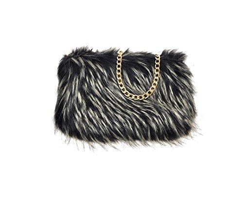 Blonde Fur Black Chain Faux Runway Clutch Purse Bag Designer Feather Soft Fluffy BOA8gxPqI