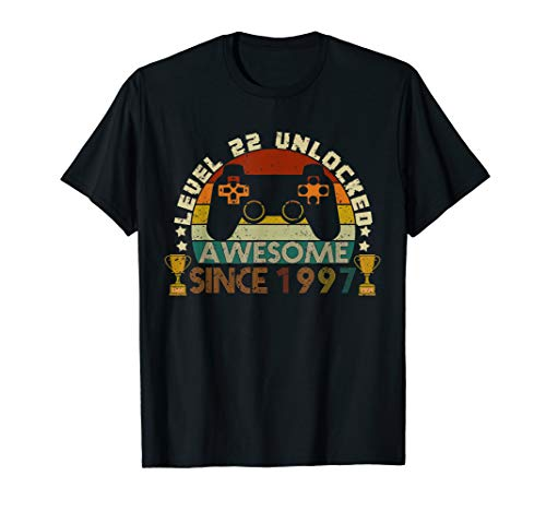 Level 22 Unlocked Awesome 1997 22 Birthday Gamer Gift Tee (Best Pc Games Of 1997)