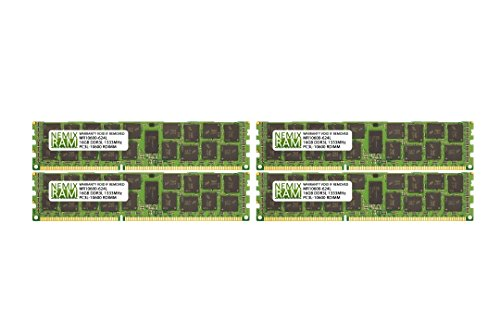 64GB (4x16GB) DDR3-1333MHz PC3-10600 ECC RDIMM 2Rx4 1.35V Registered Memory for Server/Workstation ()