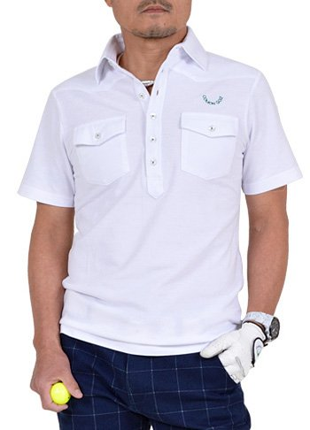 【コモンゴルフ】 COMON GOLF メンズ COOL MAX 素材 ウエスタン調 ストレッチ 半袖 ゴルフ ポロシャツ CG-SP702G