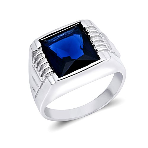 Men Wedding Ring Simulated Blue Sapphire 925 Sterling Silver