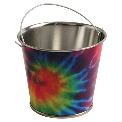 Lot Of 12 Tie Dye Hippie Theme Metal Mini Decorative Buckets With Handles -