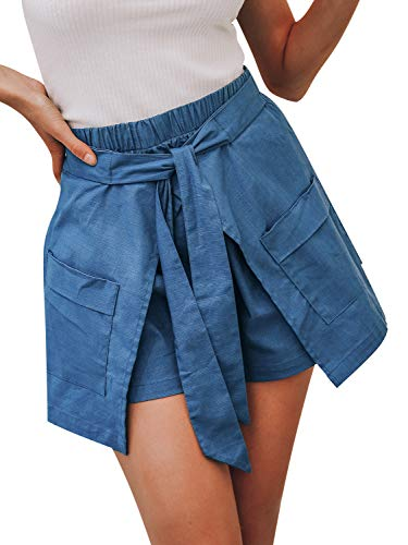 - BerryGo Women's Casual High Waist Cotton Shorts with Pockets Blue 3-S