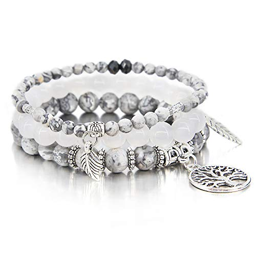 3 Pcs Gray Bead Bracelet Friendship Yoga Charm Bracelet Boho Leaf Tree of Life Stretch Bracelet Cute Stackable Wrap Bracelet Set for Women Girl