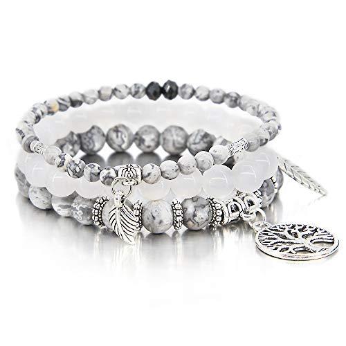 (3 Pcs Gray Bead Bracelet Friendship Yoga Charm Bracelet Boho Leaf Tree of Life Stretch Bracelet Cute Stackable Wrap Bracelet Set for Women Girl)