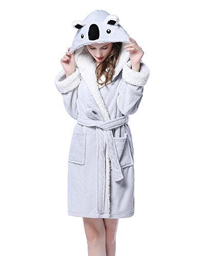 NEWCOSPLAY Adult Unisex Unicorn Hooded Bathrobe (L/XL, Gray Koala)