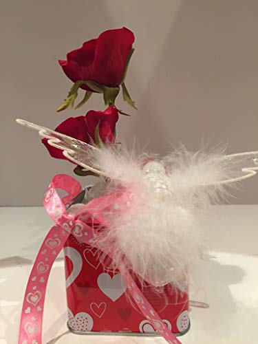 (VALENTINE BOX ARRANGEMENT WITH ORNAMENT 2- WHITE SEQUINED WITH FEATHERS HUMMINGBIRD- WHITE ENCRUSTED HEART- RED ROSES- WHITE MIXED FLORAL- PINK RIBBON WITH WHITE HEARTS BOW- VALENTINES DAY- UNIQUE )