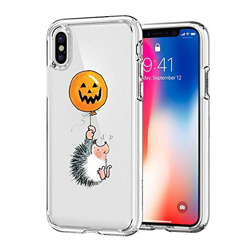 iPhone X Case, JICUIKE Halloween Weird Pumpkin Clear Design Printed Transparent Soft TPU Shell with Protective Bumper Silicone Back Cover for iPhone Xs Case 5.8 Inch [Little Hedgehog]]()