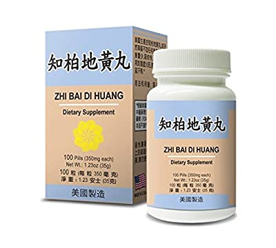 Zhi Bai Di Huang Herbal Supplement Helps For Clearing Heat & Nourishing The Yin Energy, Relieve Yin Deficiencies & Ease Hot Flashes, Night Sweats, Sore Throat, Dry Mouth, Ringing In the Ears, 350mg 100 Pills Made In USA