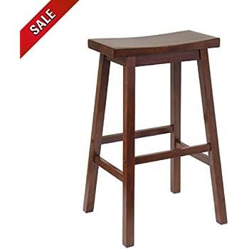 Amazon Com Light Bar Stool Saddle Wood Counter Height