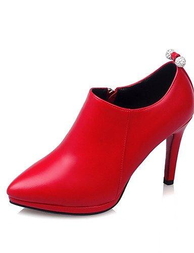 Beige Eu41 5 Y Puntiagudos cuero Cn42 tacón Uk7 Stiletto Confort Plataforma oficina 5 10 us9 tacones Mujer Patentado Pu tacones Rojo Casual 8 Trabajo negro Ggx qw1ATg7