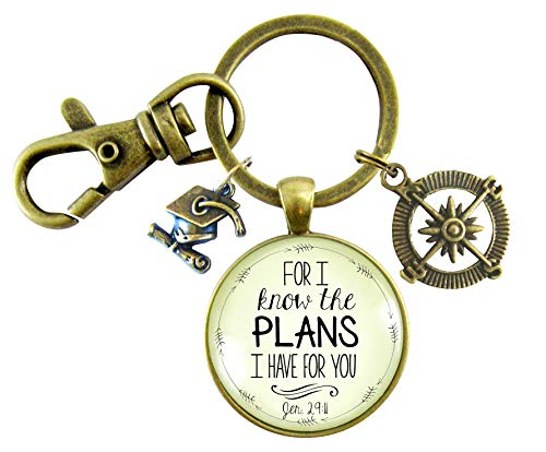 Graduate Gift For I Know the Plans I Have Jeremiah 29 11 Glass Keyring Christian Jewelry Compass Graduation Tassel Cap Charm ()