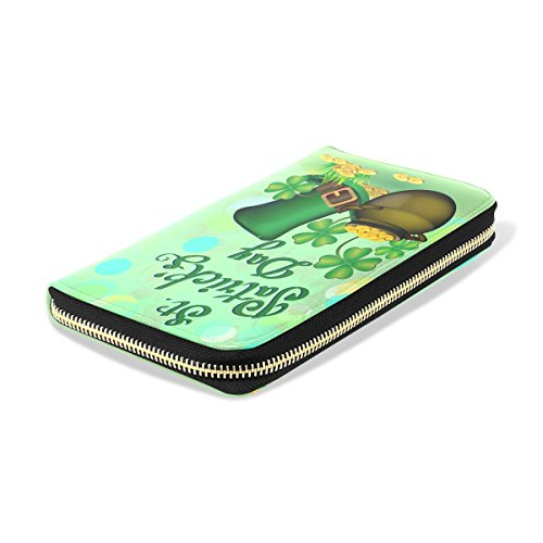 Handbag Clutch Purses march Long Pu Wallet Green3 Leather Passport ALAZA Festivals Different Leather q6w1Z6aT