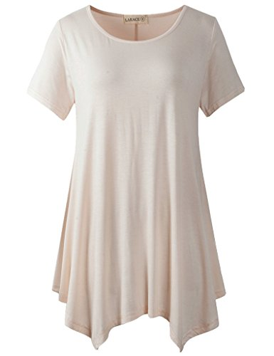 LARACE Womens Swing Tunic Tops Loose Fit Comfy Flattering T Shirt (L, Beige)