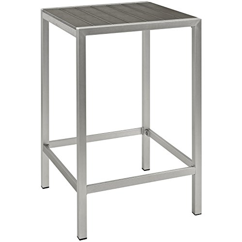 Modway Shore Aluminum Outdoor Patio Square Bar Table in Silver Gray (Bar Seating Bench)