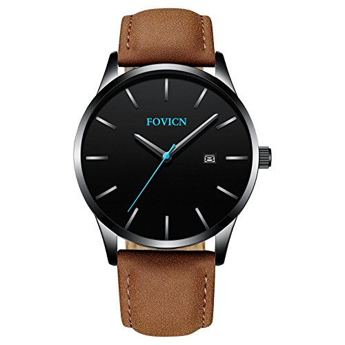 Men's Analog Quartz Watch Fashion Business Men's Watches Mens Sport Waterproof Watch for Men with Leather Strap Calendar Date Wristwatches (Calendar Watch Leather Band Ladies)