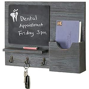 MyGift-Rustic-Grey-Wood-Entryway-Organizer-with-Chalkboard-Key-Hooks