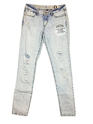 Rewash Juniors' Ripped Lace-Trim Water-Tint Light Wash Cuffed Skinny Jeans - Brand Clothing Tint