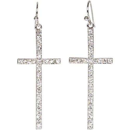 Heirloom Finds Silver Tone Crystal Cross Dangle Earrings 2