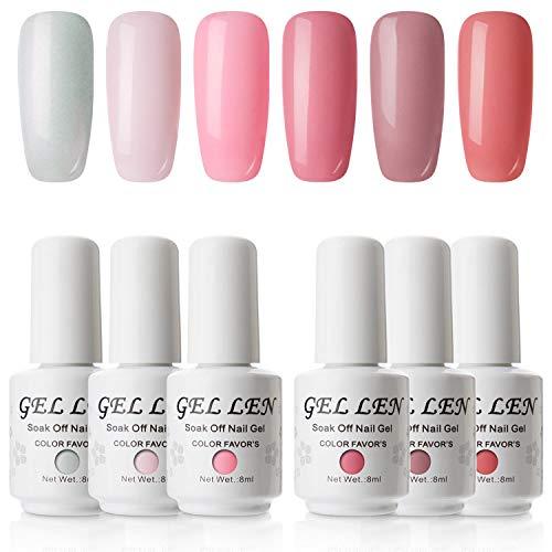- Gellen Soft Pink Series Gel Nail Polish Set 6 Colors , 8ml Each
