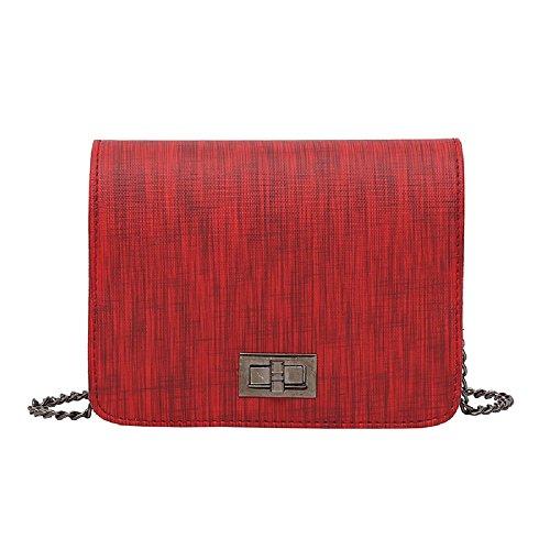 Diagonale Tissu Petit Nouvelle Petit épaule Unique Serrure PU Tourner Sac Dames Sac carré Fashion Rouge ZHRUI chaîne xYRqIwCwP
