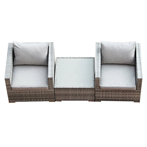 Tangkula Wicker PE Sofa Set Outdoor Patio Rattan Wicker Furniture 3-9 PCS w/ Cushion (3 PCS-2A+1D) price