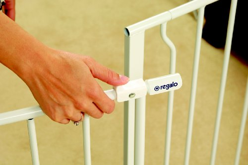 Regalo Easy Open 50 Inch Wide Baby Gate, Bonus Kit, Includes 6-Inch and 12-Inch Extension Kit, With Both Pressure and Wall Mount Kits