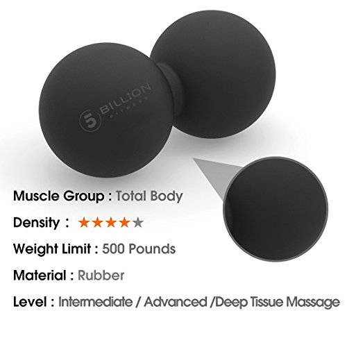 Large Product Image of 5BILLION Peanut Massage Ball - Double Lacrosse Massage Ball & Mobility Ball for Physical Therapy - Deep Tissue Massage Tool for Myofascial Release, Muscle Relaxer, Acupoint Massage (black)