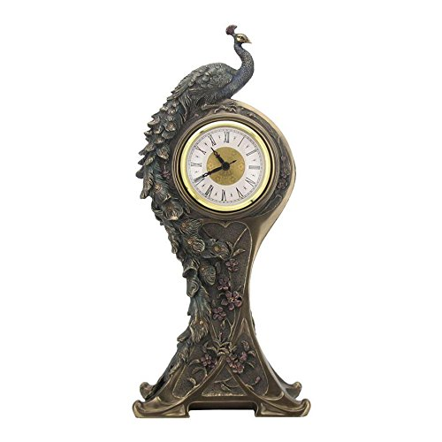 XoticBrands Art Nouveau Peacock Decorative Clock-Animal Statue, Bronze