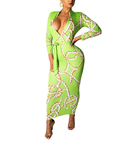 ECHOINE Women Sexy Floral Print Deep V Neck Long Sleeve Zip Bodycon Dress Club Outfits with Belt (Green, XXL)